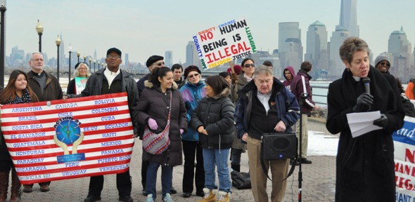 Rev. Katharine Jefferts Schori, Presiding Bishop of the Episcopal Church addresses the crowd during the fourth annual vigil against immigration detention on Feb. 13 at the Liberty State Park in New Jersey.