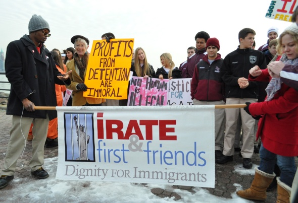 Immigration rights advocates gather at Liberty State Park in mid-February  to protest immigration detention.  Photo by NOEL PANGILINAN