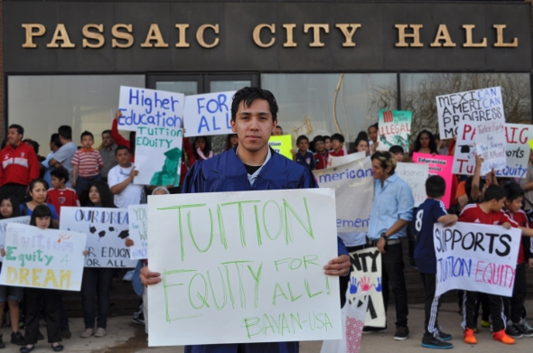 David Galvez at the rally in front of the Passaic City Hall on April 9.    Photo by NOEL PANGILINAN