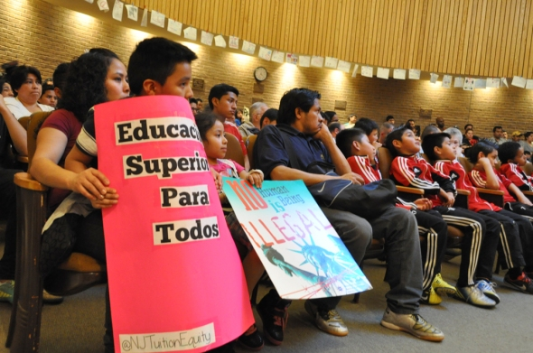 Supporters of the pro-tuition bills resolution, many of them children who came with their parents,  pack the session hall during the City Council meeting on April 9.   Photo by NOEL PANGILINAN