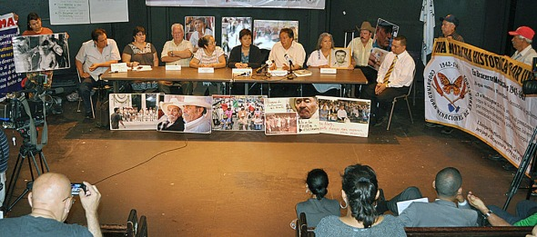 The Braceros and their supporters hold a press conference in New York.   Photo by NOEL T. PANGILINAN