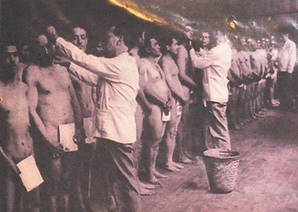An old photo of Braceros undergoing physical examination.  Photo courtesy of Coordinadora Binacional de Ex Braceros (COBIEB)