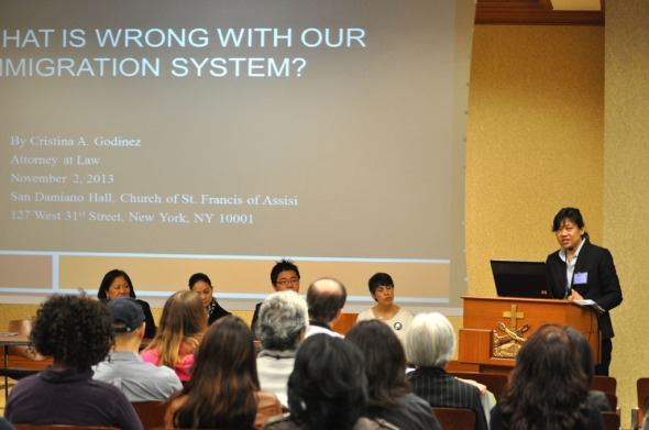 Cristina Godinez discusses what's wrong with the U.S. immigration system.   Photo by NOEL T. PANGILINAN