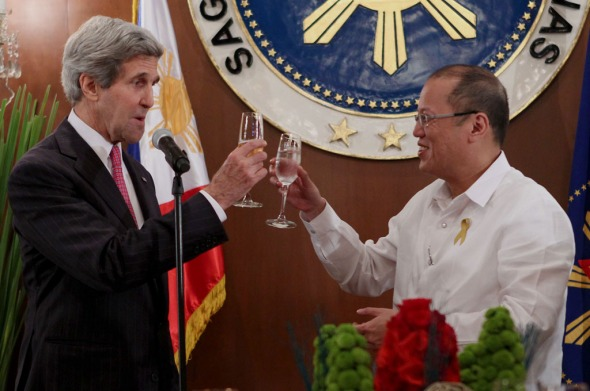 "U.S. Secretary of State John Kerry with Philippine President Benigno S. Aquino III during Kerry's visit to Manila inDecember to negotiate for an ""increased rotational presence"" of U.S. troops in the Philippines.                 Photo from the Malacañang Photo Bureau."